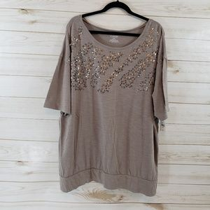 Lane Bryant Tan Sequined Top